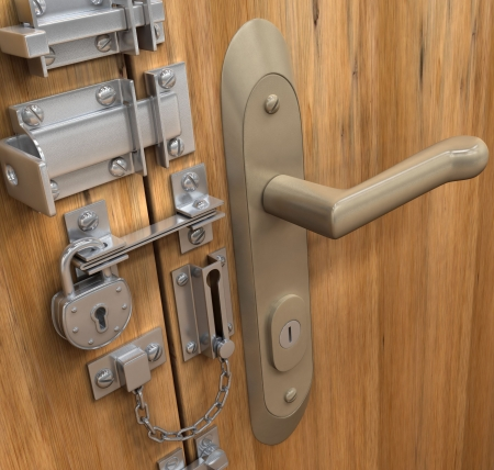Security Concept. Many lock in only one door.  Stock Photo