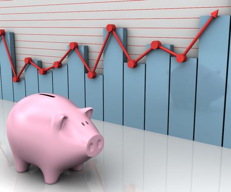 The piggy beside the bar and line graph. Concept of business and finances.