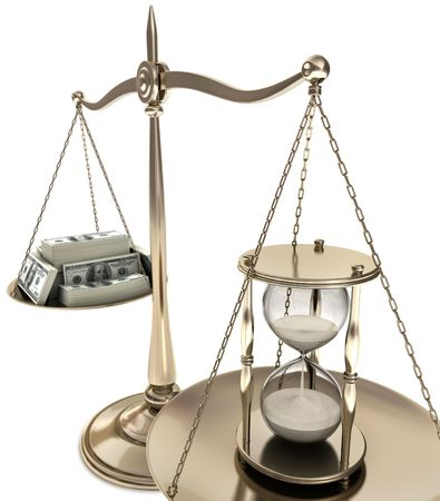 weighing: Time is money. The money is blurred, the focus is the hourglass. Concept of business. Losing time is equal to lose money.