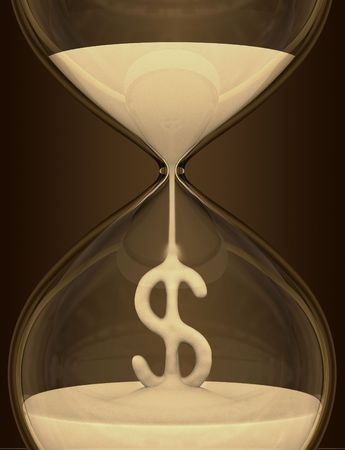 Time is Money (hourglass). The sand falls forming the dollar sign. The dark background makes a contrast to sand. Stock Photo