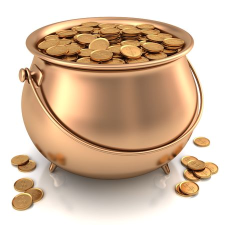 Golden pot full of gold coins with dollar sign. Stock Photo