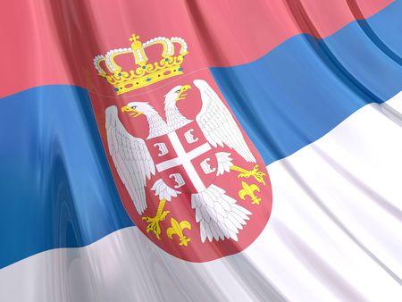 serbia: Glossy Flag of Serbia