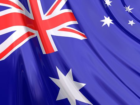 Glossy Flag of Australia  The glossy surface of the flag, reflects the ambience