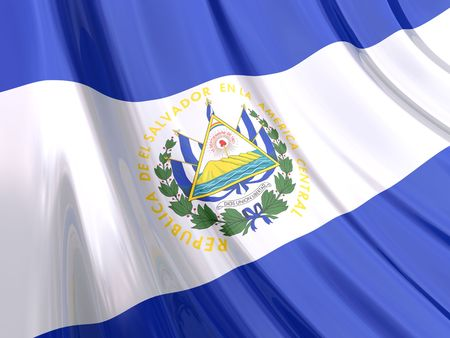 el salvador flag: Glossy Flag of El Salvador. The glossy surface of the flag, reflects the ambience. Stock Photo