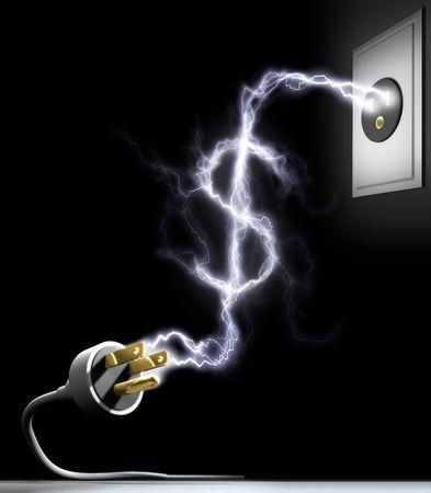 blackout: Energie besteden. Elektriciteit vormen het teken van Amerikaanse dollars. Concept van energie besteden. Hydro-elektrische statistiek.