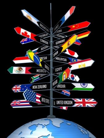 egypt flag: Planeta tierra con flechas indicando la direcci�n de los pa�ses. Concepto de Negocios de Viajes y Turismo en todo el Mundo.  Foto de archivo