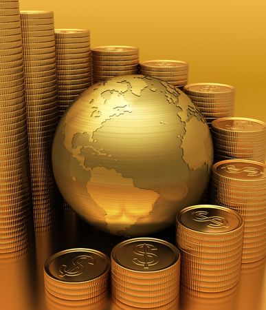 money sphere: Gold Globe with many gold coins around. The coins represents a bar graph.