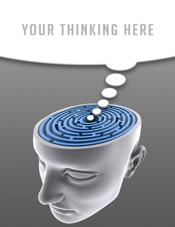 Confused Mind. The labyrinth inside the head. Concept of problem, fear, lost, solution, idea, etc. Stock Photo - 2406101