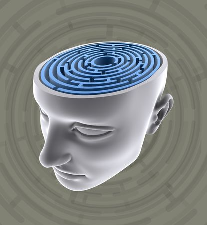 Confused Mind. The labyrinth inside the head. Concept of problem, fear, lost, solution, idea, etc. Stock Photo - 2406100