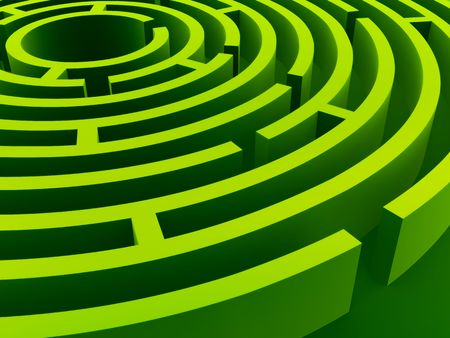 maze: Green labyrinth in diagonal perspective