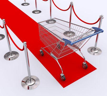 carretilla de mano: Alfombra roja para los mejores clientes. Concepto de buen cliente.