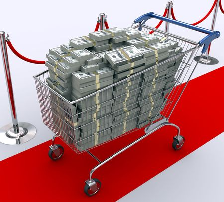 red retail: Red carpet for the best client. Concept of wealth, power, luxury, etc. Stock Photo