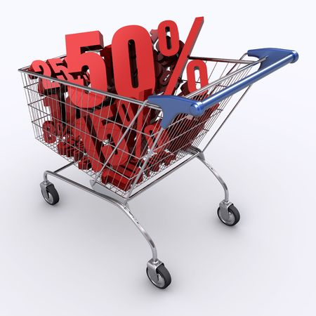 Shopping cart full of percentage. Concept of discount. Stock Photo