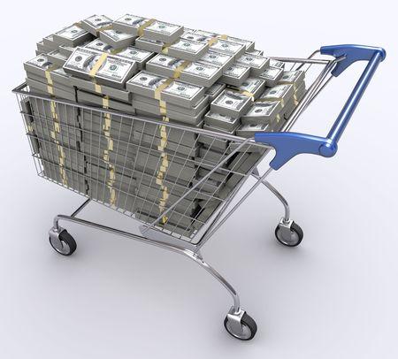 cassa supermercato: Carrello della spesa con dentro di dollari. Concetto di denaro e di economia dei consumatori.  Archivio Fotografico