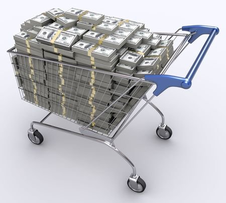 trolly: Shopping cart with dollars inside. Concept of money and economy of the consumer.
