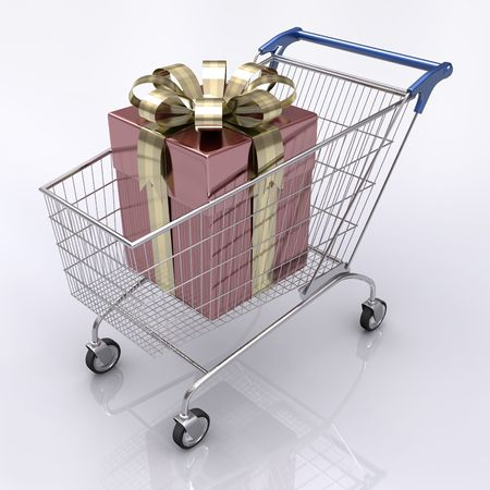 liquidation: Concept of buying gift. Shopping cart with a gift inside.
