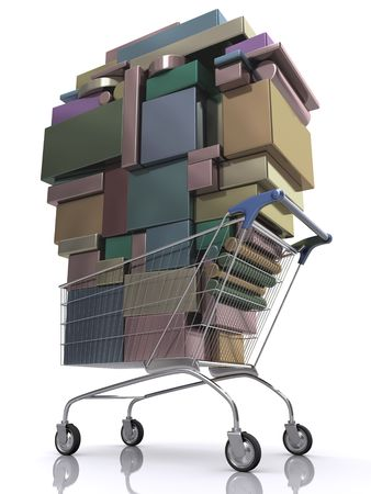 liquidation: Concept of consumer. Shopping cart full of package.