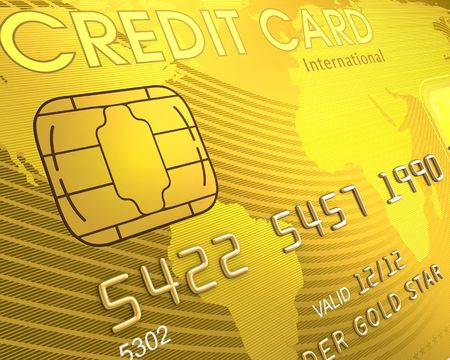 Close up of a credit card. The world map on the card, symbolizing the scope of the card in the world. photo