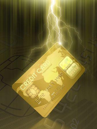 cardholder: The brightness and the ray illuminates the card Stock Photo