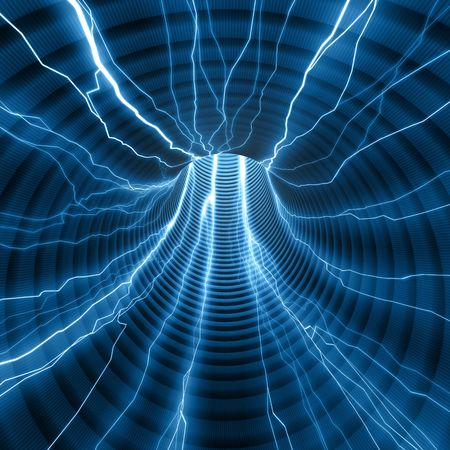 intense: Abstract tunnel with rays passing inside. Concept of energy and power.