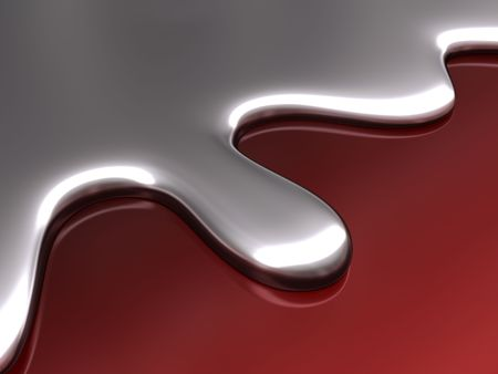 Abstract liquid in form and color of mercury chrome. Stock Photo