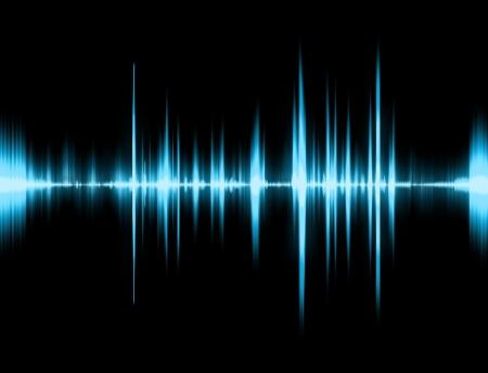 tremante: Grafica di un suono digitale su fondo nero  Archivio Fotografico