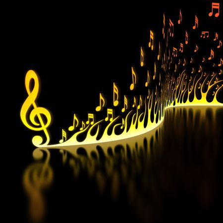 sheet music: Flame of Musical Notes Stock Photo