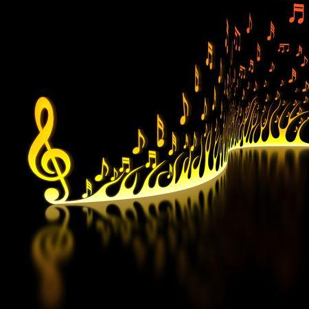 notas musicales: Llama de notas musicales