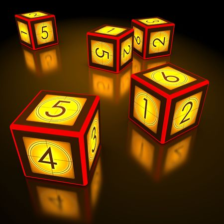 dado: Dice with countdown of cinema industry Stock Photo