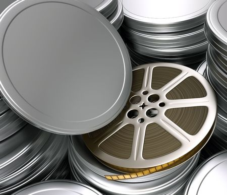 Film reel. You can put your title of movie, text and the logotype on the cover.