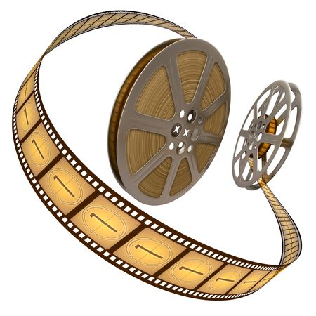 Film Reel Over White Stock Photo