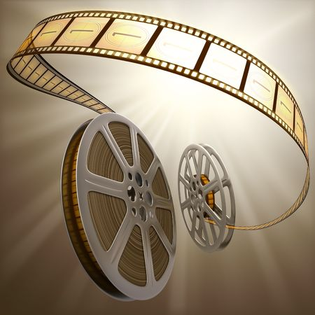 Film Reel Backlight Stock Photo