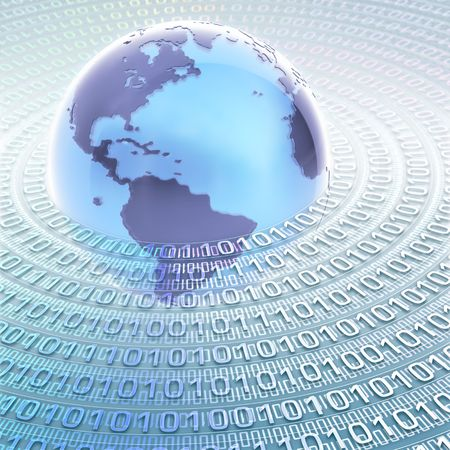 Globe with many numbers (0 and 1) binary code. Concept of global information and technology.