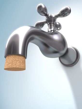 Saving Water. The cork ensures that the water does not leak. Stock Photo