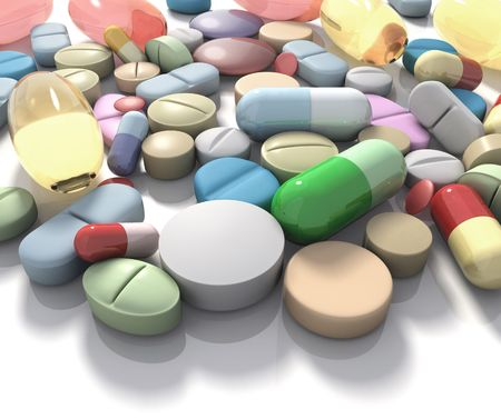 alimentary: Spilled pills of drug or alimentary supplement. Concept of Health and Disease.