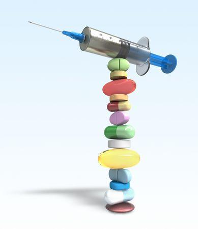 laboratory balance: Equilibrio di pillole e siringhe. Concetto di un buon controllo della medicina.