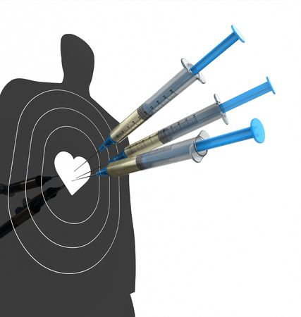finding the cure: Injection Dart. Concept of success in finding the cure for the disease. Stock Photo