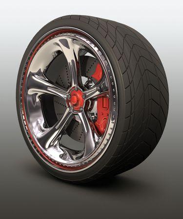 referenz: Verchromte Rad mit roten Details. Exklusives Design, gut zu nutzen ohne �berweisung der Marke.  Lizenzfreie Bilder