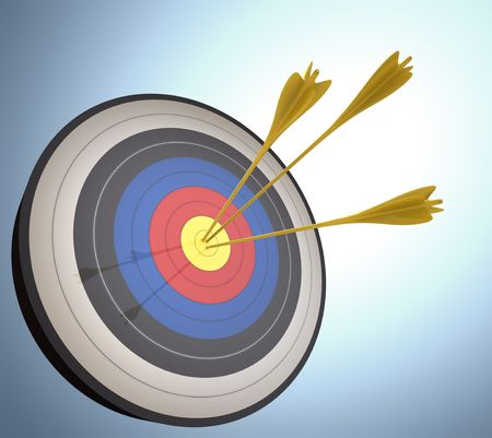 The arrows hits the target. Concept of success and achievement. Stock Photo - 3563260