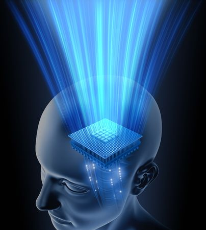 Concept of thinking. Your brain is your processor. You can put your text on the rays. photo