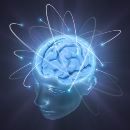 brain mysteries: Electrons revolve around the brain. Concept of idea, the power of mind.