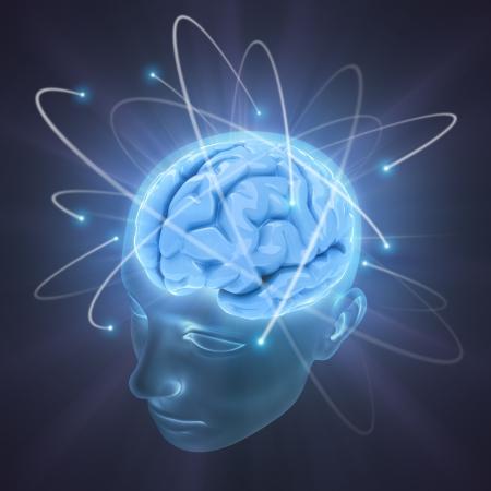 kopf: Elektronen kreisen um das Gehirn. Konzept der Idee, die Macht des Geistes.