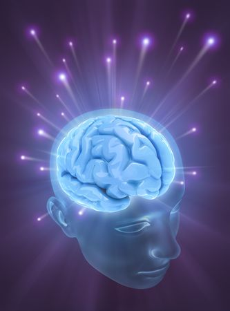 brain mysteries: Balls of energy jump out the brain. Concept of idea, the power of mind. Stock Photo