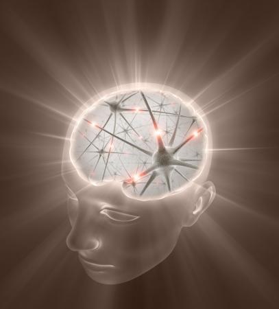 cognicion: Concepto de mente abierta. Cierre de las neuronas dentro de la cabeza.  Foto de archivo