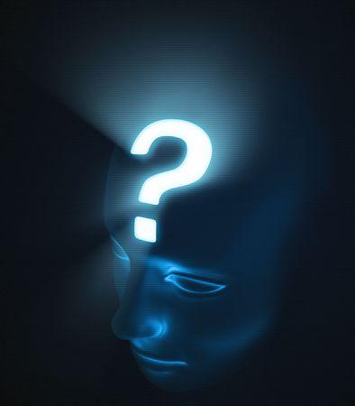 point d interrogation: Chef de l'interrogatoire point. La forte lumi�re � l'int�rieur de la t�te, repr�sente l'intensit� du doute.