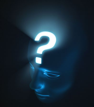 Head with interrogation point. The strong light inside the head, represents the intensity of the doubt. photo