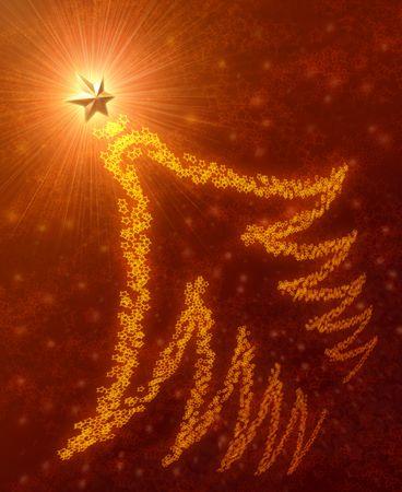 Abstract Christmas Tree. Silhouette of stars of a Christmas tree. Good to use as postcard. photo