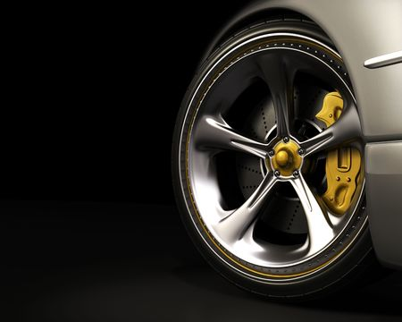 brakes: Chromed wheel with yellow details. Exclusive design, good to use without reference of mark. Your text on the left space. Stock Photo