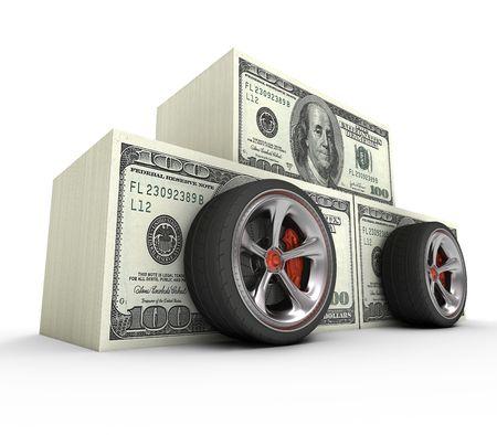 dream car: El costo de el veh�culo de sus sue�os. Concepto de cara. Foto de archivo
