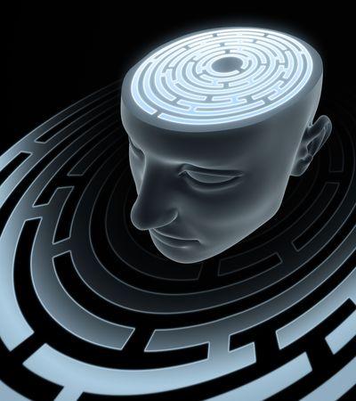 interconnected: Mente ps�quica. Laberinto interior de la cabeza. Foto de archivo